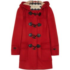 Burberry Brit Hooded wool duffle coat (28.190 UYU) ❤ liked on Polyvore featuring outerwear, coats, jackets, coats & jackets, burberry, red, woolen coat, burberry coat, red coats and hooded coat