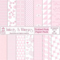 Tickled Pink Digital Scrapbook Papers  by TrinketsAndWhimsies, $2.49