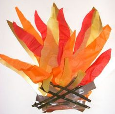 Bonfire collage! We've done this with real twigs as well, but the tissue paper is the key to really set it off. Add glitter for extra fun and sparkle!