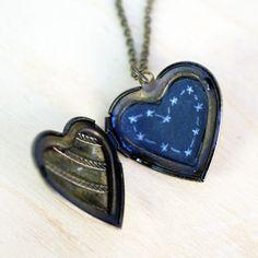 Heart-Shaped Constellation Locket Necklace at shanalogic.com