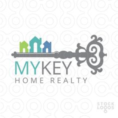 Logo Sold fancy scrolling skeleton key, rows of homes create the lock portion of the key.