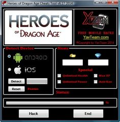 Heroes of Dragon Age Cheats Tool v6.17 2014 for Android/iOS. Working without problems. Download here! The Best Cheats only from YavTeam. http://www.yavteam.com/heroes-of-dragon-age-cheats-tool-v6-17-2014/