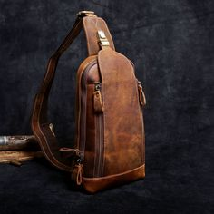 Handmade Leather Mens Cool Chest Bag Sling Bag Crossbody Bag Travel Bag Hiking Bag for men Find more best sling backpack. Are you always worried about the zippers going to break if your luggage is always more than full? Shoulder Backpack, Men's Backpack, Leather Backpack, Leather Crossbody Bag, Shoulder Bag, Single Strap Backpack, Hiking Bag, Luggage Straps, Custom Bags