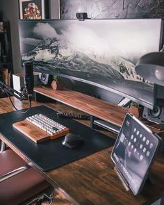 Computer Desk Setup, Gaming Room Setup, Pc Setup, Office Space Design, Modern Office Design, Black Bedroom Design, Office Games, Bedroom Setup, Home Office Setup