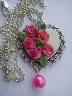 Polymer clay vintage rose's pendant