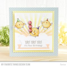 Stamps: Birthday Chicks | Die-namics: Birthday Chicks, Fishtail Flag Frames, Stitched Fishtail Sentiment Strips, Stitched Square Scallop Edge Frames | Stencils: Cloud, Radiating Rays — Torico #mftstamps