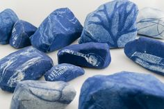 Tidelands Cyanotype, canvas, rocks gathered from the site of the former Llano del Rio cooperative community Dimensions variable, rocks actual size 2014 Shibori, Cyanotype Process, Sun Prints, Alternative Photography, We Will Rock You, Textiles, Land Art, Stone Painting, Art Techniques