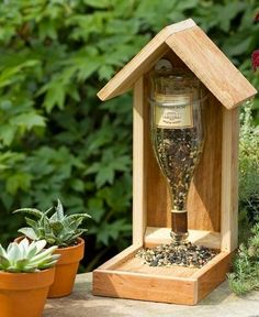 Wine bottle bird feeder.