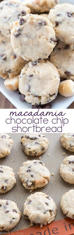 Oh these look yummy! These are our favorite cookies: Macadamia Chocolate Chip Shortbread Cookies! It's an easy shortbread recipe full of chocolate and macadamia! Cookie Desserts, Just Desserts, Cookie Recipes, Delicious Desserts, Dessert Recipes, Cookie Cups, Chocolate Chip Shortbread Cookies, Shortbread Recipes, Chip Cookies