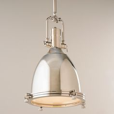 """Industrial Age Metal Pendant This 1 light Industrial Age pendant will create a focal point in any room it is used. Together with both metal and diffused glass, the detail is just right for many styles ranging from a traditional kitchen to a city loft. Available in both Satin Nickel and Polished Nickel. (23.5""""Hx14.25""""W) Max height is 67.5""""H."""