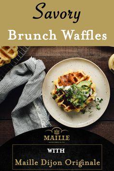 Healthy Waffles, Savory Waffles, Crepes And Waffles, Homemade Waffles, Pancakes, Breakfast Slider, Pancake Breakfast, Breakfast Snacks, Breakfast Recipes