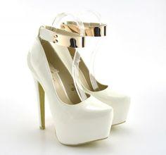 Pantofi cu platforma Andora Albi - ->>> h