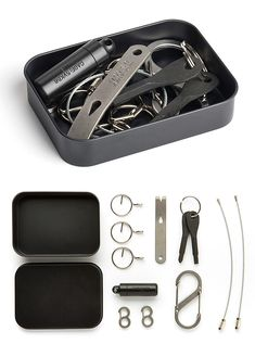 """Best Made Possibilities Kit  When a gum wrapper and a piece of shoelace won't fix the airplane, maybe something inside the Best Made Possibilities Kit can. It includes a set of basic tools to give you MacGyver-like solutions to all kinds of tricky situations. It includes: 2 aviation cable key rings, an S-biner, a 3"""" D9 steel pry bar, flat head & Phillips-head screw keys, a waterproof delrin capsule, 2 runt clips, & 5 key maintenance rings."""