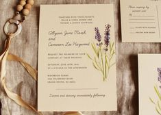 Lavender Wedding Invitation Vintage Botanical Design - Printable or Ship