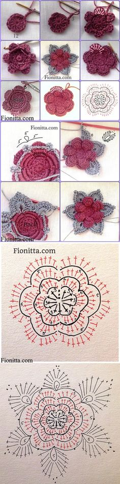 3D Rose Motif - Free Crochet Diagram - (fabartdiy)