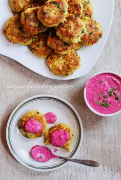 cauliflower chops + beetroot & mint dip