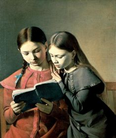 The Artist's Sisters Signe and Henriette Reading  - Carl Christian Constantin Hansen