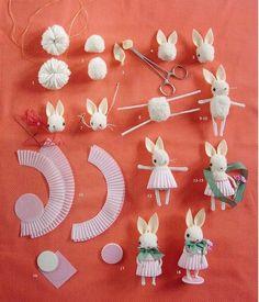pom pom bunny - até o nome é bonitinho!   Tutorial: http://jmurphybears.bigcartel.com/product/pom-pom-bunny