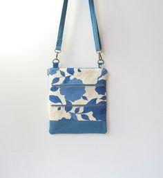 Blue flowered hip bag blue canvas crossbody bag by Hobbitbags, $30.00