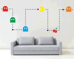 PACMAN - Wall art sticker kit-if steve was allowed to decorate the living room