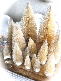 DIY tutorial for bleaching bottle brush trees. This is how you get the vintage, antique looking bottle brush trees. They could be painted to make them more white.
