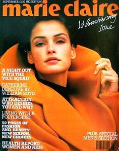 Marie Claire UK September 1989  Famke Janssen in Stylish Orange.