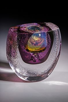 Water Series - Purple Solar Ellipsoid Art-Glass Sculpture |by Jon Goldberg Art Glass♥≻★≺♥