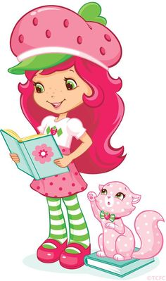 Having a reading book with Strawberry Shortcake and Custard