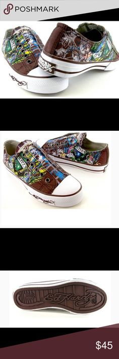 Ed Hardy women's slip on sneakers Ed Hardy Lowrise designed by Christian Audigier Patent Leather Tattoo inspired detailing elasticized strap under tongue for easy on/off lightly padded insole, rubber outsole and toe cap, can be worn with any outfit NWT Ed Hardy Shoes Sneakers