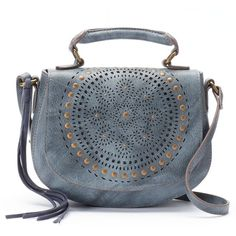 Mudd® Lina Perforated Crossbody Bag (£19) ❤ liked on Polyvore featuring bags, handbags, shoulder bags, blue, blue handbags, handbags crossbody, purses crossbody, blue crossbody and vegan handbags