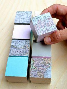DIY Mod Podge Map Puzzle Blocks - iVillage
