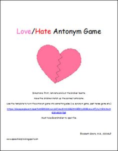Free!! Love/hate antonyms match game!