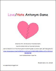 Free!! Love/hate antonyms match game!