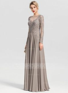 A-Line/Princess Scoop Neck Floor-Length Chiffon Evening Dress With Beading Sequins - Evening Dresses - JJ's House Vestidos Fashion, Fashion Dresses, Wedding Party Dresses, Prom Dresses, Formal Dresses, Chiffon Evening Dresses, Mothers Dresses, Groom Dress, Stunning Dresses