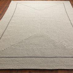Eco-Friendly Braided Wool Pinstripe Framed Rug:  3 Colors