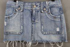 American Eagle Women's Size 2 Denim Jean Distressed Mini Skirt  #AmericanEagleOutfitters #Mini