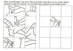 deze puzzelstukjes zijn door elkaar geraakt. kun jij ze op de juiste plaats tekenen zodat het gezicht van een romeinse soldaat tevoorschijn komt?