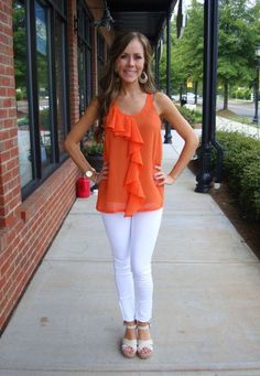 Furbelow Top, $29.99 (sizes S-L)  Just USA White Jeggings, 64.99  (sizes 24-31)  Earrings, 10  TOMS Sierra Strappy Wedge, 69.99  (sizes 6-10, whole & half sizes available)