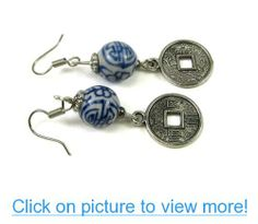 Asian Decor Porcelain Bead Dangle Earrings, Accented Miniature Chinese Coin Replica Dangles
