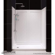 """Dreamline SHBW-1462743-01 QWALL 40"""" D x 62"""" W Shower Backwall Kit with 4 Panels White Showers Shower Walls Acrylic"""