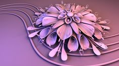 Purple abstract flower design on the computer