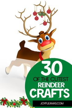 The reindeer is an iconic part of Christmas. They are so adorable that it's hard not to feel happy when looking at them! There are many crafts you can make for kids, and these 30 all have their own little personality. #christmas #christmascrafts #kidscrafts #reindeercrafts Reindeer Handprint, Reindeer Face, Reindeer Craft, Reindeer Ornaments, Ornament Crafts, Popsicle Stick Crafts, Craft Stick Crafts, Crafts To Make, Easy Christmas Ornaments