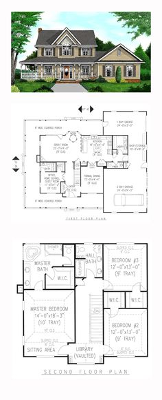 Farmhouse Style COOL House Plan ID: chp-27604 | Total Living Area: 2457 sq. ft…