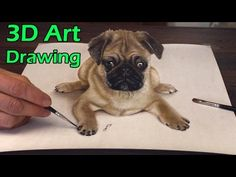 3D Drawing of sweet Pug Dog│Trick ART speed painting - YouTube