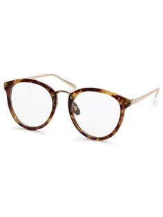 Brown Tortoise Frame Round Clear Lens Glasses