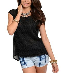 Loving this Black Lace Hi-Low Top on #zulily! #zulilyfinds