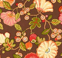 Brown Tangerine and Green Floral Upholstery by ShopMyFabrics