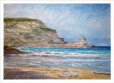 Una acuarela de la playa de Langre en las cercanías de Ribamontán al Mar.   Se trata de una pintura en la que muestro este lugar parcialmente iluminado donde los colores del mar se mezclan en una suerte de azules, verdes, y grises en la orilla.   El cielo cae en aguada y se mezcla en diferentes tonalidades de azul y en el horizonte deja ver una franja con tonos algo más violetas.  Encargos de cuadros y información escribiendo a: ruben@rubendeluis.com Tel. 616 46 21 58 (también WhatsApp) Costa, Outdoor, Scenery Paintings, Water Colors, Colors, Sailor Theme, Canvases, Art, Outdoors