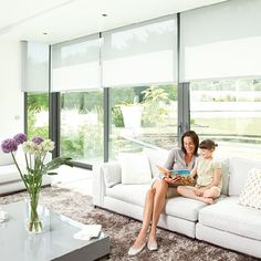 Motorized window coverings by Somfy U. will instantly up your home's IQ and simplify your life! The ease and sophistication of motorized window coverings enhances the functionality of every interior living space. Patio Blinds, House Blinds, Bamboo Blinds, Blinds For Windows, Curtains With Blinds, Fabric Blinds, Vertical Blinds Cover, Automatic Blinds, Automatic Shades