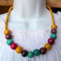 Ethnic Multi Color Mango Wood Bead Boho Necklace Mother's Day Gift in Jewellery & Watches, Costume Jewellery, Necklaces & Pendants | eBay!